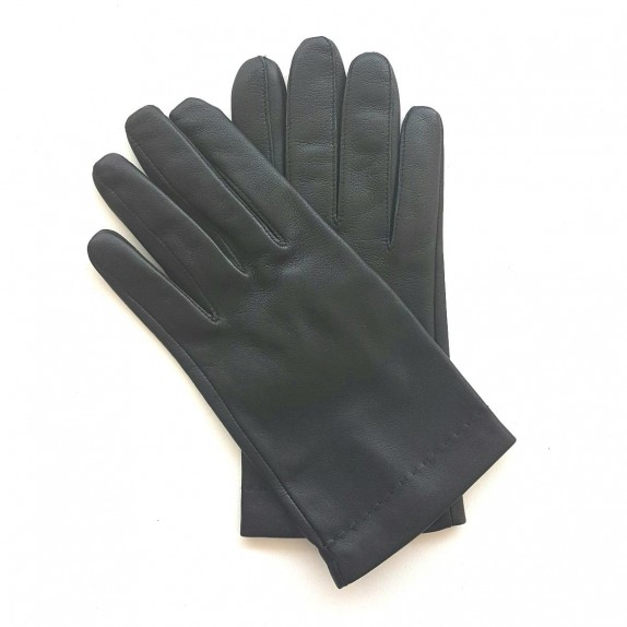 "Leather gloves of lamb black and orange ""MARTIN""."