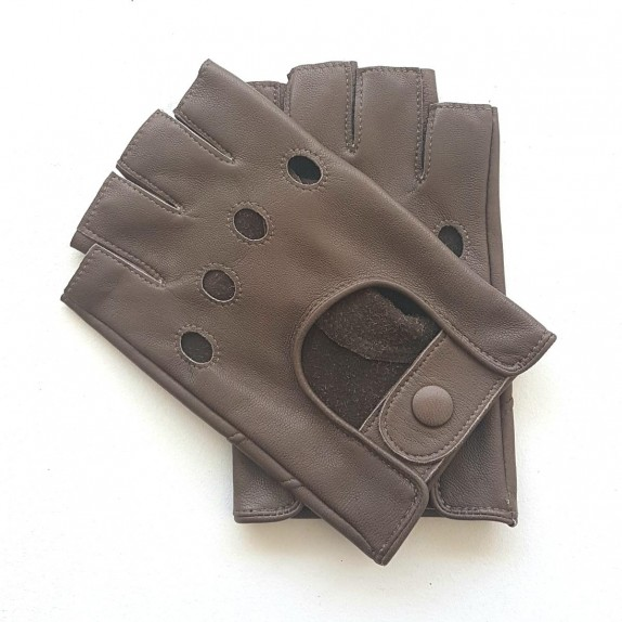 """Leather mittens of lamb taupe """"PILOTE""""."""