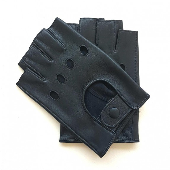 """Leather mittens of lamb navy """"PILOTE""""."""