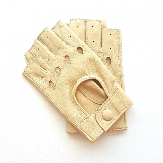 "Leather mittens of lamb otmeal ""PILOTE""."