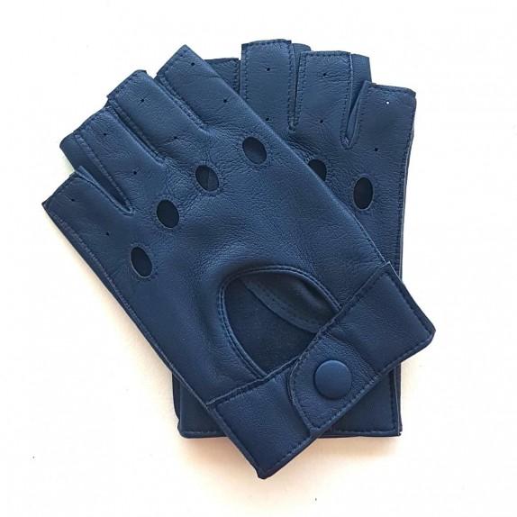 "Leather mittens of lamb indigo ""PILOTE""."