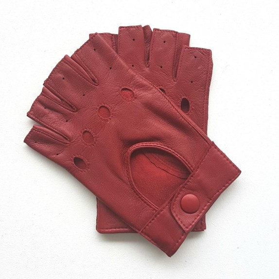 "Leather mittens of lamb red ""PILOTE""."