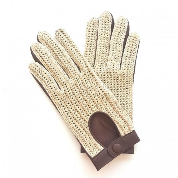 "Leather gloves of lamb, cotton hook havana ""ALFREDINE""."