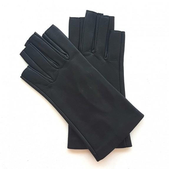 "Leather mittens of lamb black ""JEANNE"""