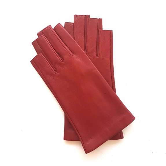 "Leather mittens of lamb red ""JEANNE"""