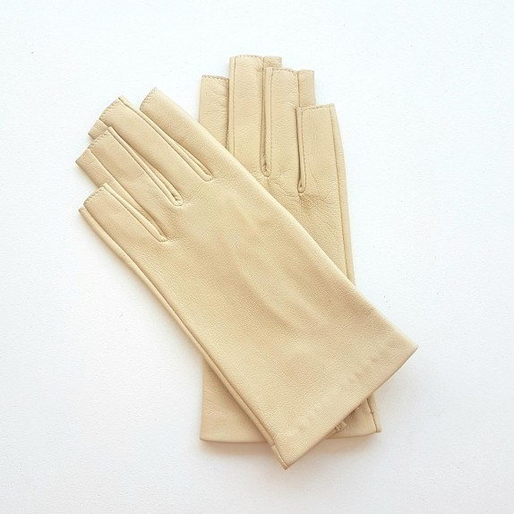 """Leather mittens of lamb otmeal """"JEANNE"""""""