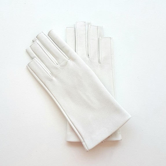 "Leather mittens of lamb white ""JEANNE"""
