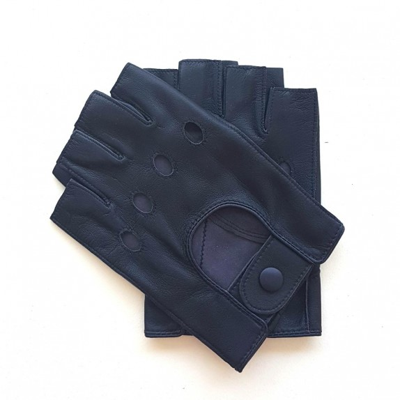"""Leather mittens of lamb damson """"PILOTE""""."""