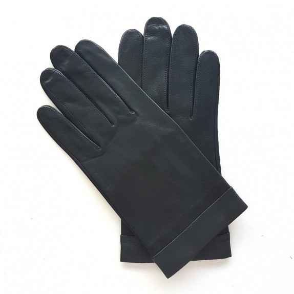 "Leather gloves of lamb black and storm ""GUILHEM""."