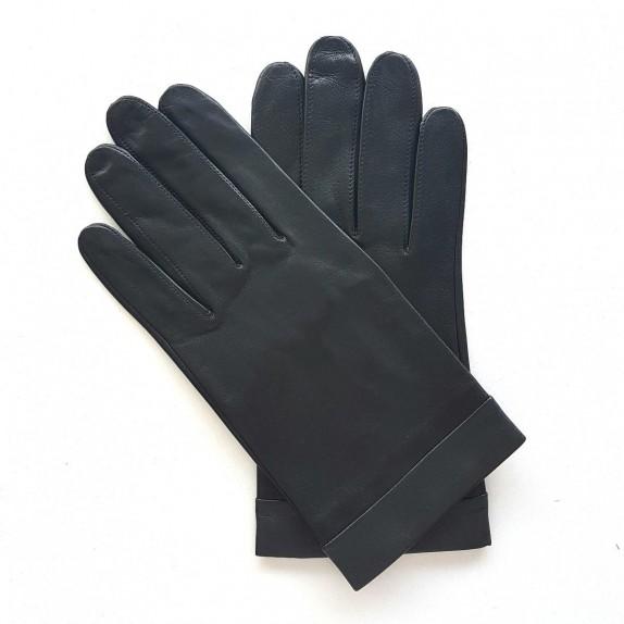"Leather gloves of lamb black and storm""GUILHEM""."