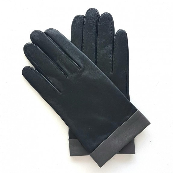 "Leather gloves of lamb black and grey ""GUILHEM""."