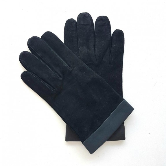 "Leather gloves of goat velvet and lamb black and storm""GUILHEM""."