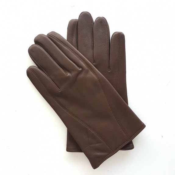 "Leather gloves of lamb brown ""STEEVE""."