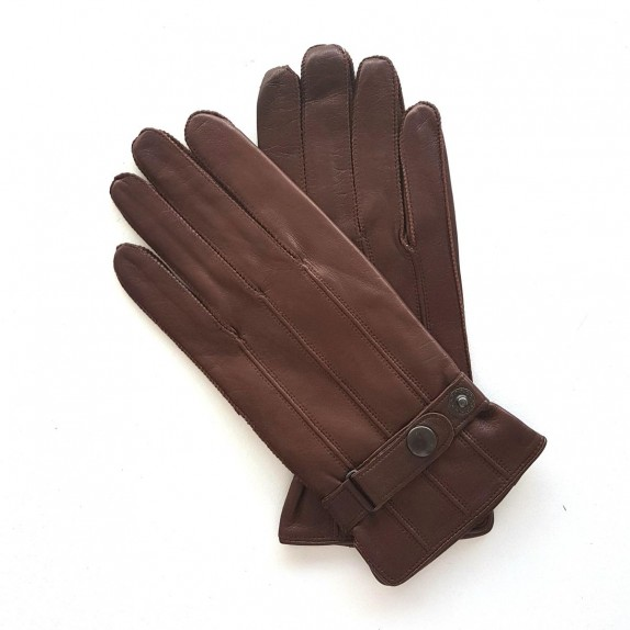 "Gants en cuir d'agneau chocolat ""BASILE""."
