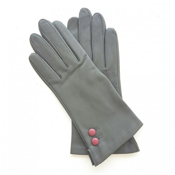 "Leather gloves of lamb charcoal rose antique ""CLEMENTINE"""