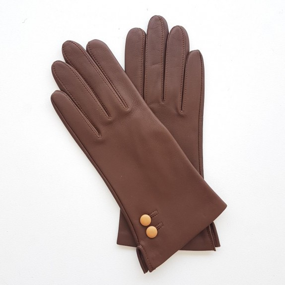 "Leather gloves of lamb havana and caramel ""CLEMENTINE"""