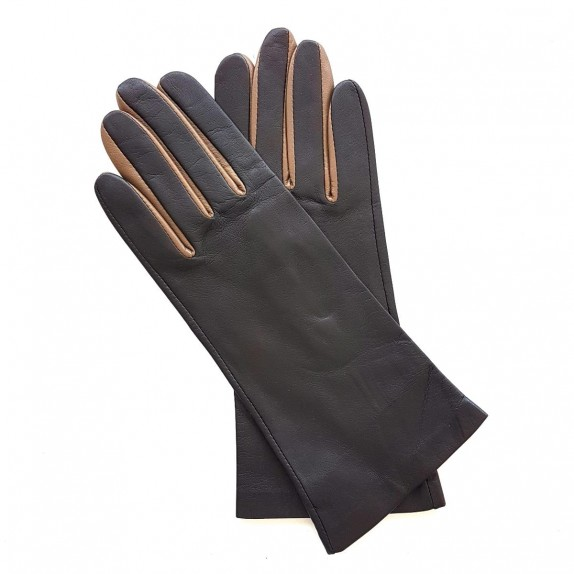 "Leather gloves of lamb chesnut clay ""ELISA"".."
