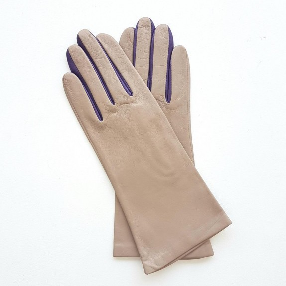 "Leather gloves of lamb putty amethyst ""ELISA"".."