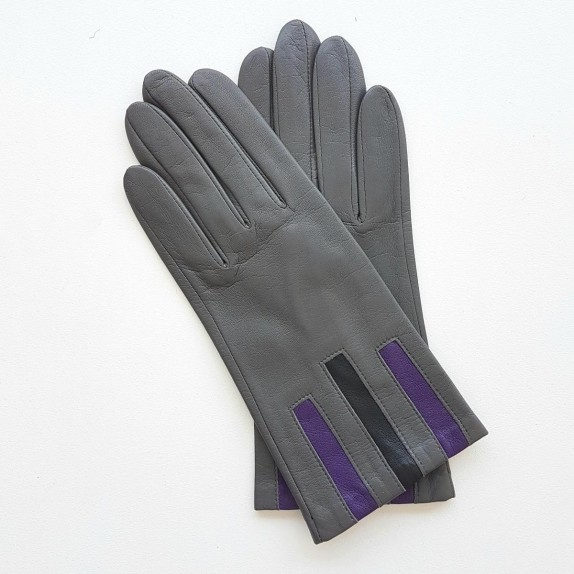 "Leather gloves of lamb charcola black and améthyst ""TRIO"""