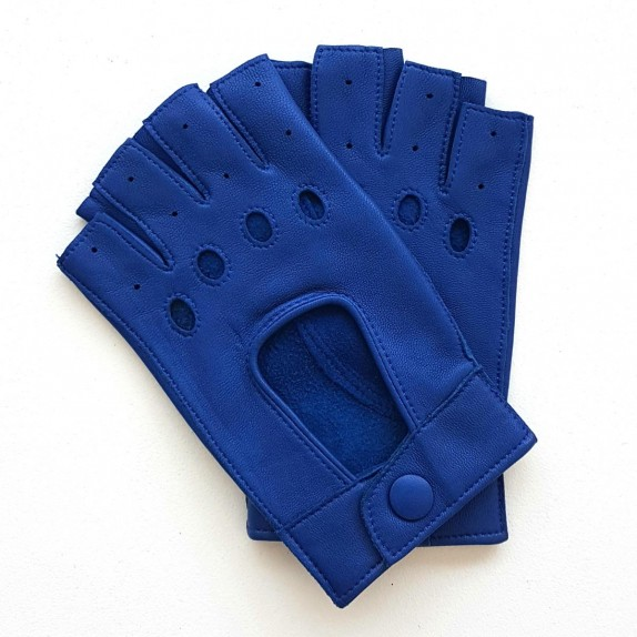 "Leather Mittens of lamb blue ""PILOTE""."