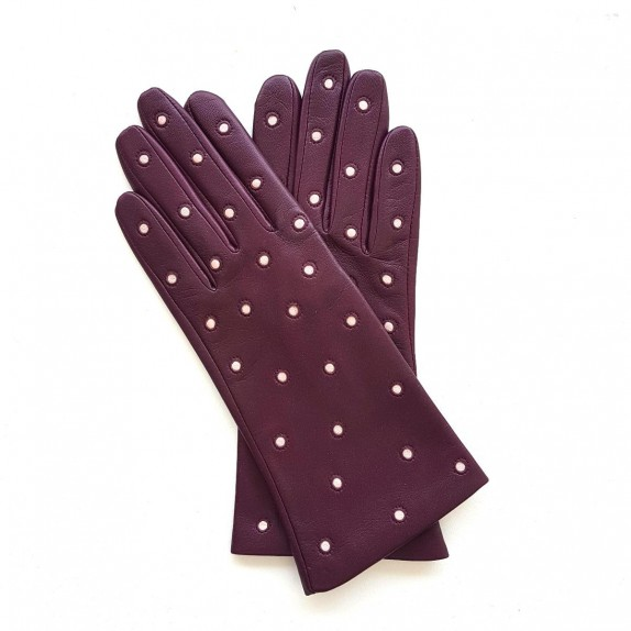 "Leather gloves of lamb cassis and pink ""COCCINELLE"""