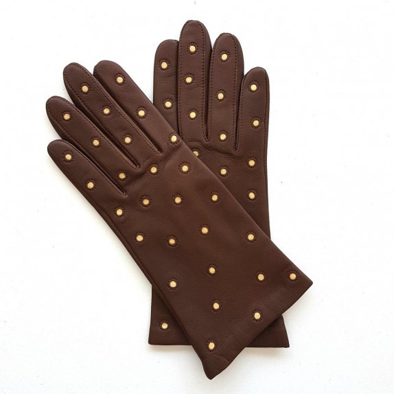 "Leather gloves of lamb havana and beige ""COCCINELLE"""