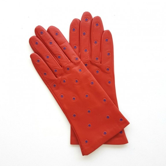 "Leather gloves of lamb chilly and améthyste ""COCCINELLE"""