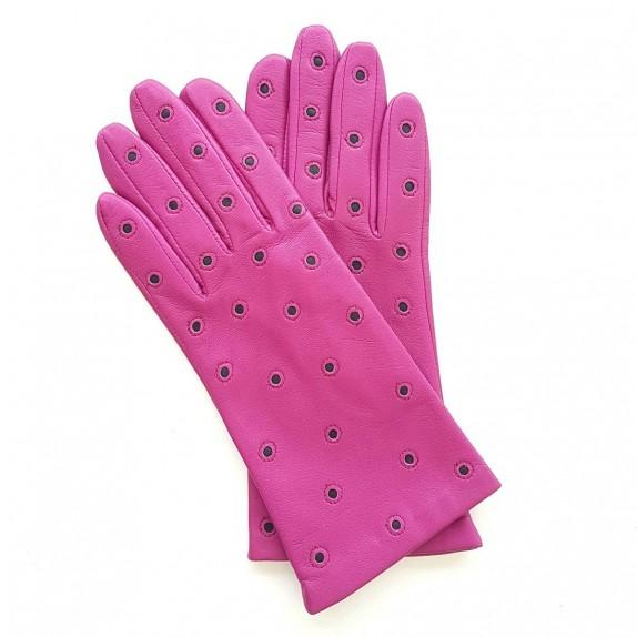 """Gants en cuir d'agneau hot pink et noir """"COCCINELLE""""."""
