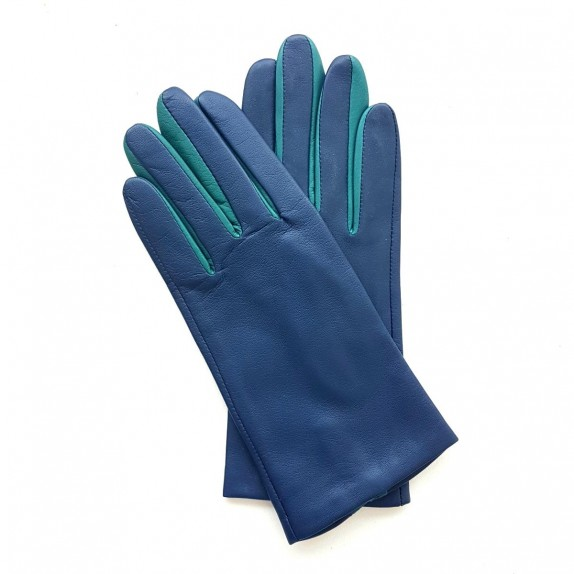 "Leather gloves of lamb blue and green ""COLOMBE""."