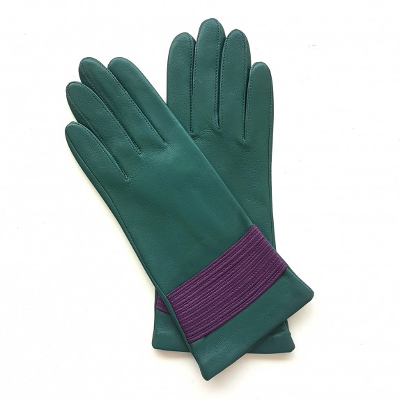 "Leather gloves of lamb green and amethyst "" ATHENA""."