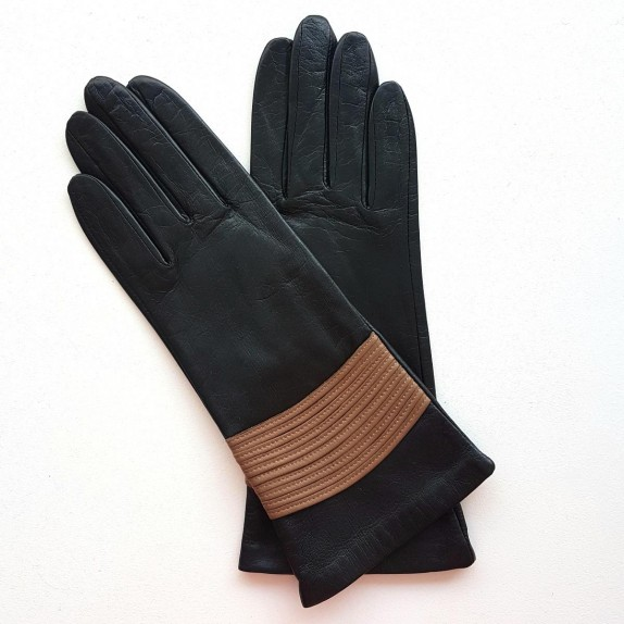 "Leather gloves of lamb black and clay "" ATHENA""."