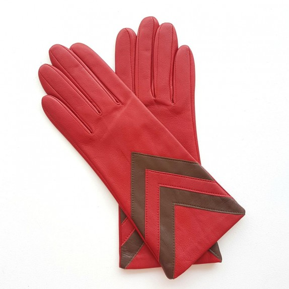 """Leather Gloves of lamb red and havana """"SYBILLE"""""""