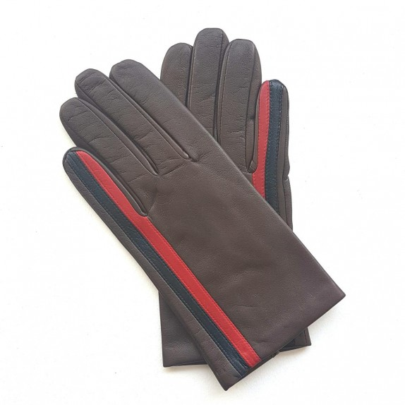 "Leather gloves of lamb brown red black ""AKANO""."