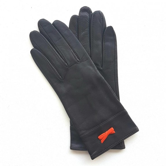"Leather gloves of lamb brown and orange ""ANEMONE"""