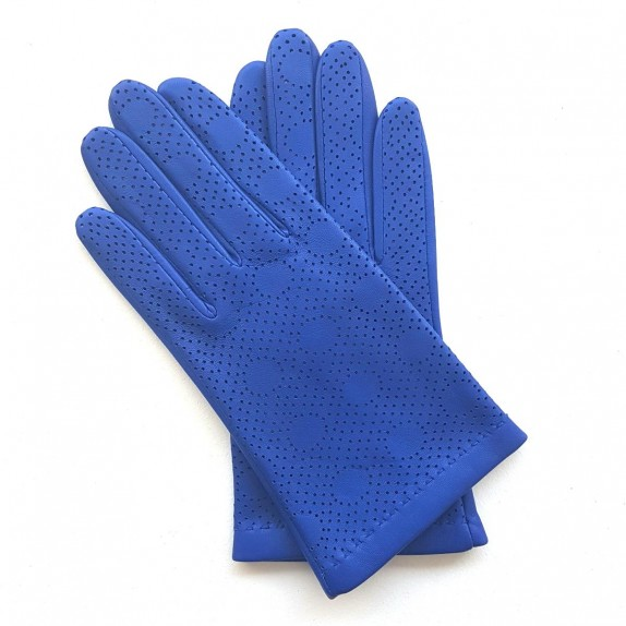 "Leather gloves of lamb blue ""LINA""."