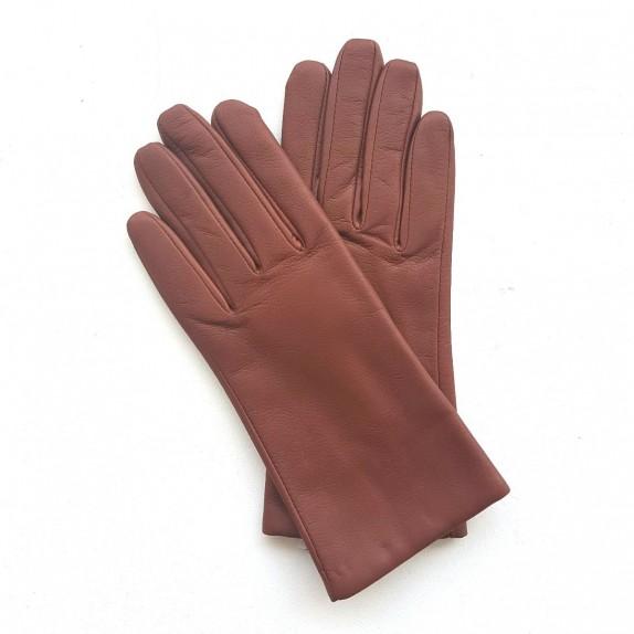 """Leather gloves of lamb dark cognac """"CAPUCINE""""."""