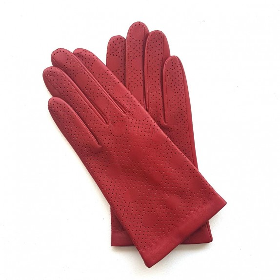 "Leather gloves of lamb red ""LINA""."
