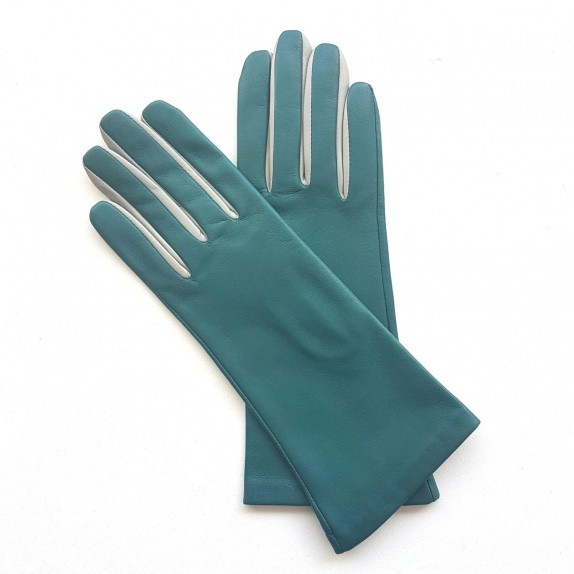 "Leather gloves of lamb green and dove ""ELISA"".."