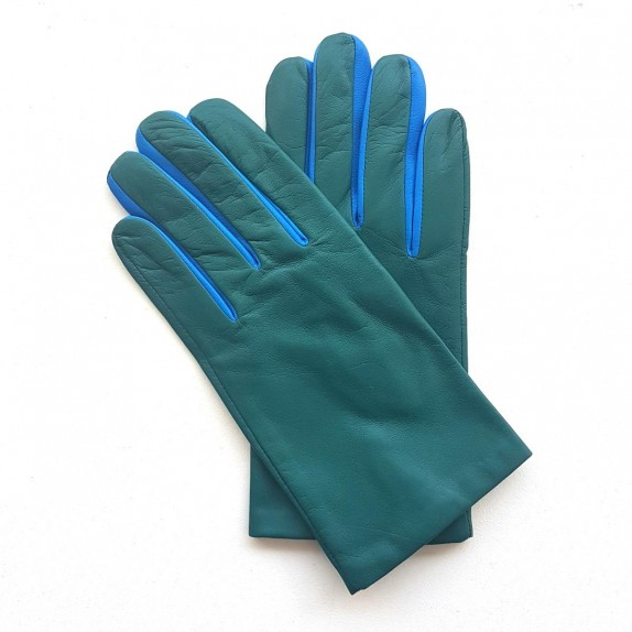 """Gants en cuir d'agneau vert et bleu """"TWIN H""""."""