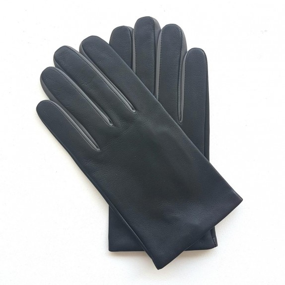 "Leather gloves of lamb black and grey ""TWIN H"""