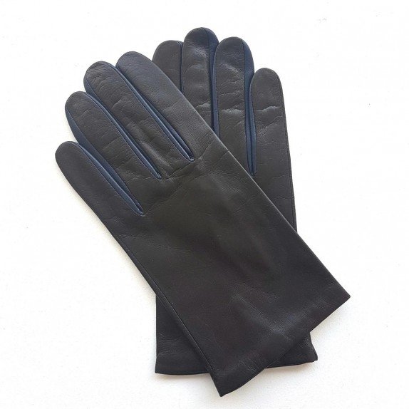 "Leather gloves of lamb brown and damson ""TWIN H"""