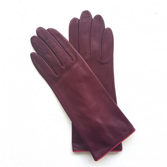 "Leather gloves of lamb cassis and orchid ""JACINTHE"""