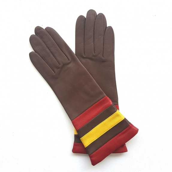 """Leather Gloves  of lamb havana yellow and red """"DONILLE"""""""
