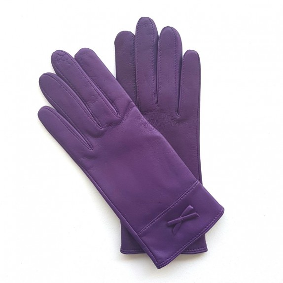 "Leather gloves of lamb amethyst ""ANEMONE"""