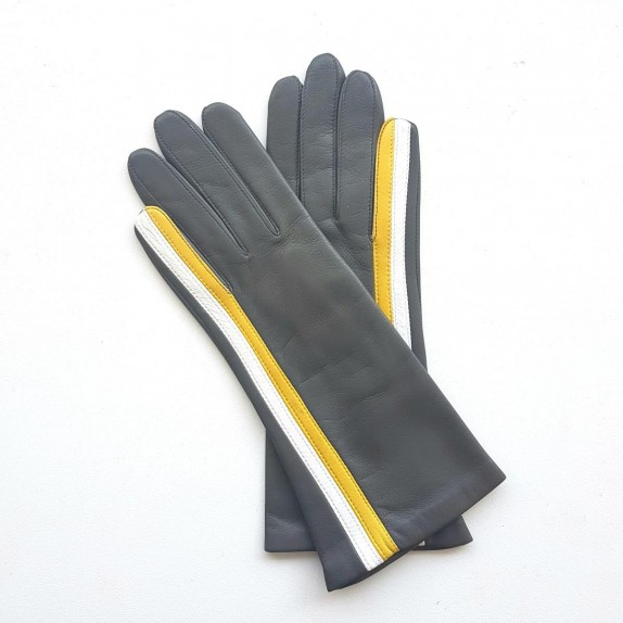 "Leather gloves of lamb grey white and yellow ""GABRIELLE""."