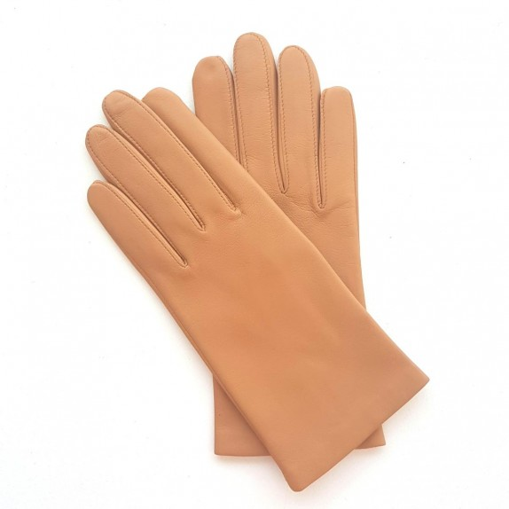 "Leather gloves of lamb caramel ""CAPUCINE""."