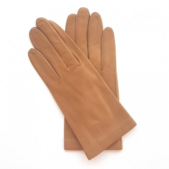 "Leather gloves of lamb amber honey ""CAPUCINE""."