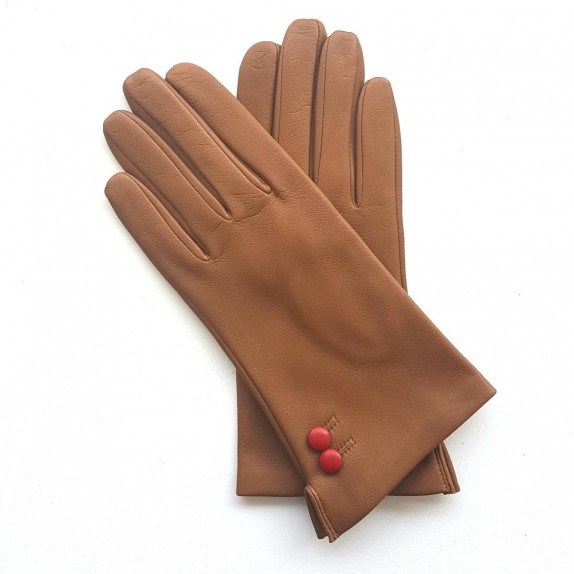 """Leather gloves of lamb biscuit and red """"CLEMENTINE"""""""