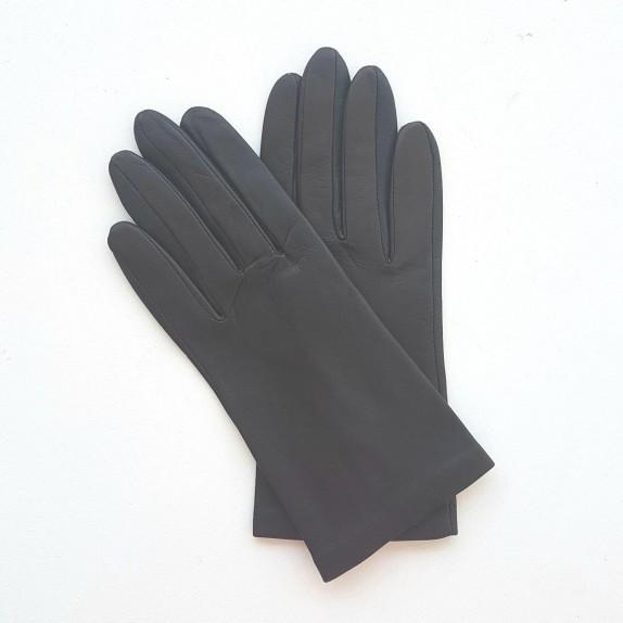 "Leather gloves of lamb ebony ""CAPUCINE""."