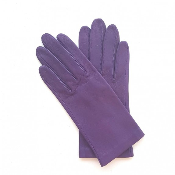 "Leather gloves of lamb eggplant ""CAPUCINE""."